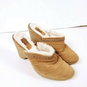 COLE HAAN 7.5 Suede Shearling Mules Clogs Tan